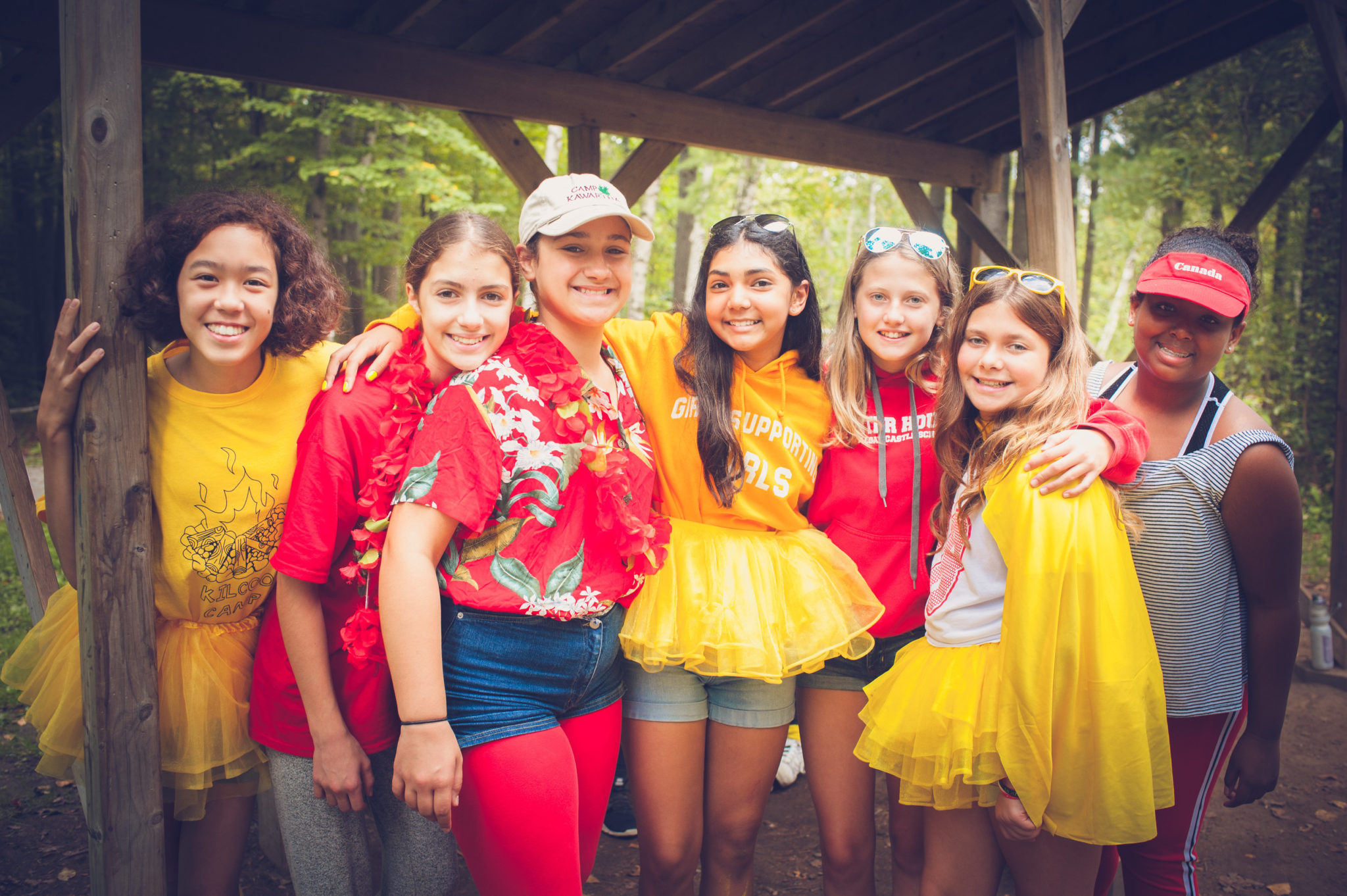 Students show of their school spirit at camp.
